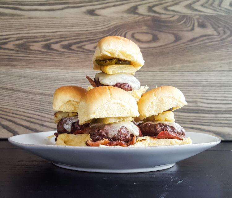 Hawaiian Beef Sliders with Bacon, Pineapple & Candied Jalapeno | Feast In Thyme