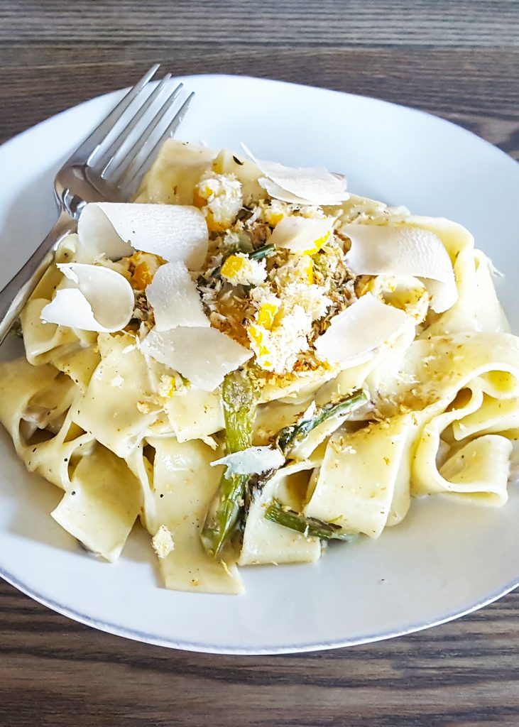 Creamy Mushroom & Roasted Asparagus Pappardelle Pasta with Panko and ...