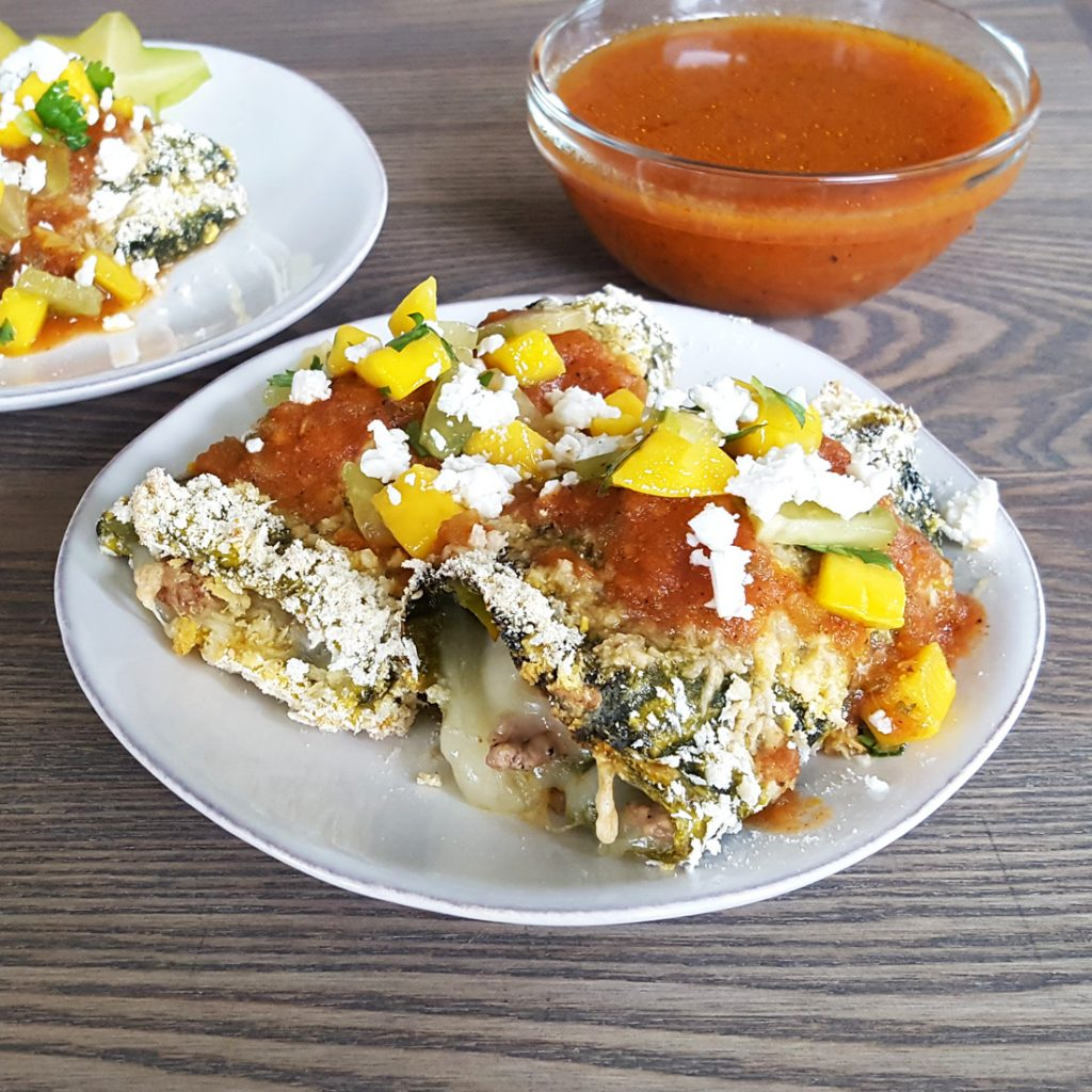Baked Chile Relleno with Quick Mango Starfruit Salsa | Feast In Thyme