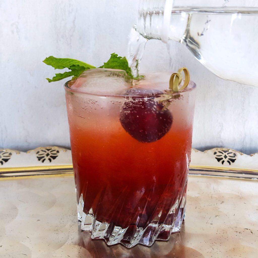 Sweet Cherry Bourbon Smash | FeastInThyme.com