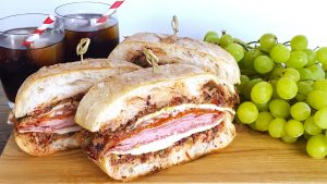 Pressed Muffuletta Sandwiches for a Crowd & Tips for a Brilliant Beach Picnic | Feast In Thyme