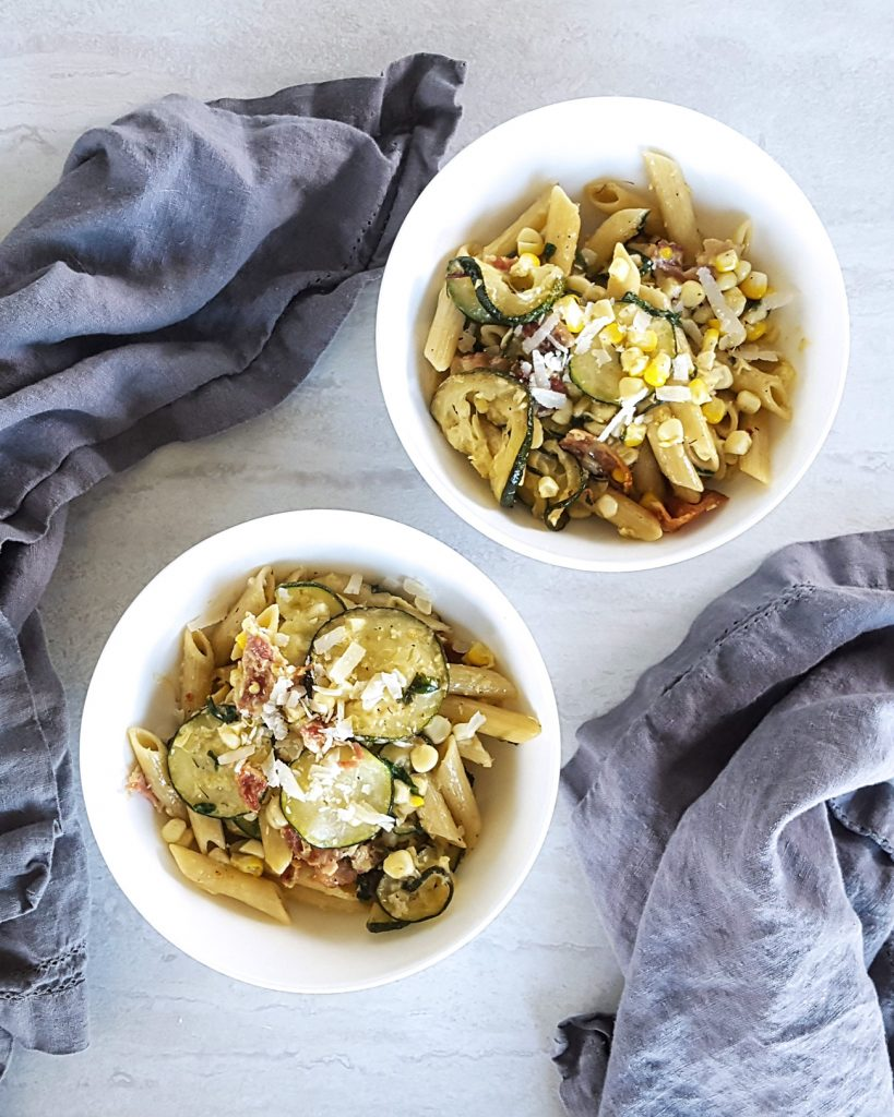 Creamy Corn & Zucchini Summer Skillet Pasta   Feast In Thyme